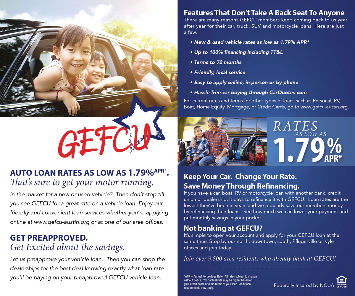 GEFCU Direct Mail – Auto Back