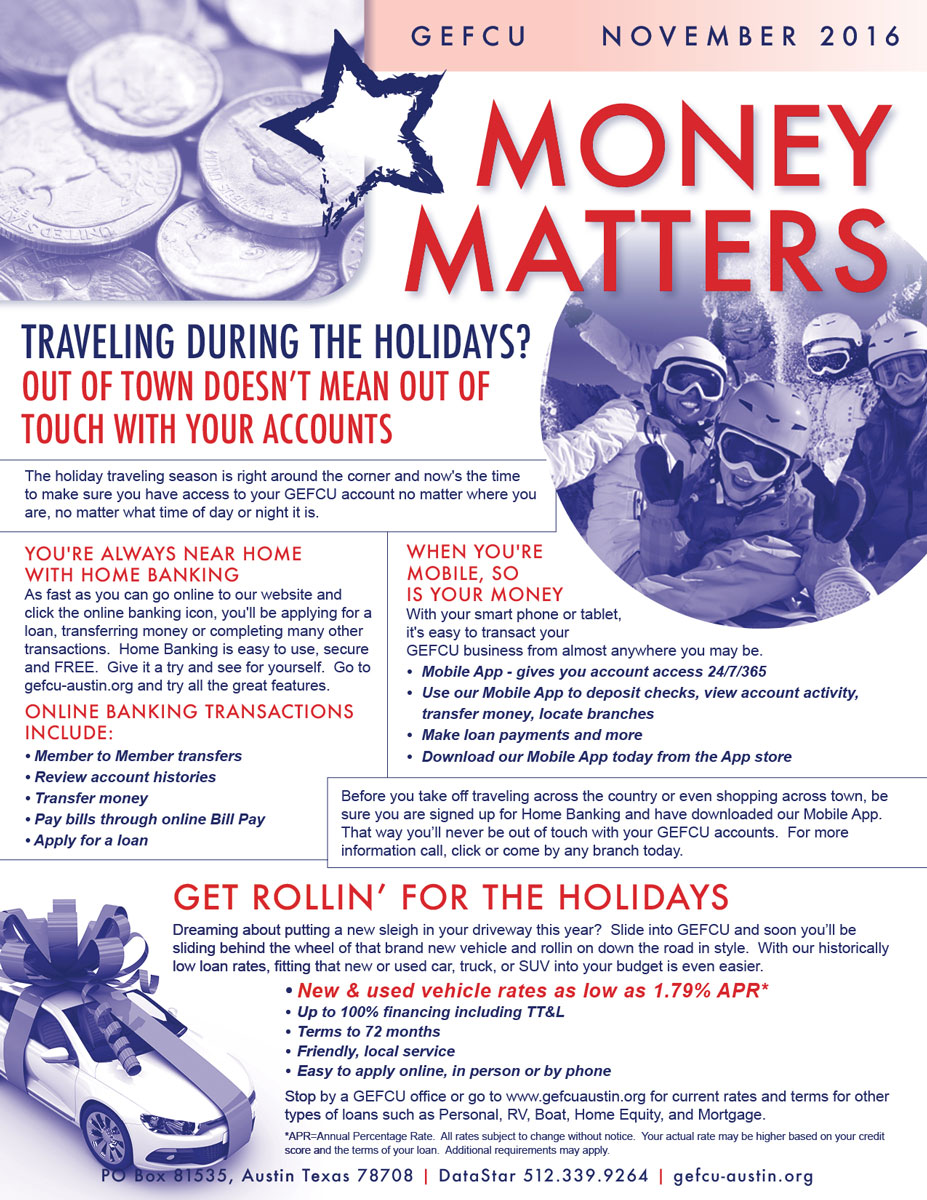 GEFCU Money Matters – November 2016